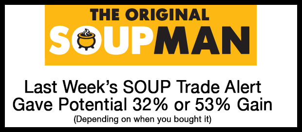 Success Alert: On August 21 We Said Soupman (SOUP) was a Buy, Now Up 32% on Volume of 12 Times Average