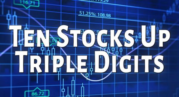 10 Stocks Up Triple Digits Today: DBMM, ZPLSQ, PSWS, SAVW, DPER, SGLN, YRLFF, SVROF, ATRN & GGTHF